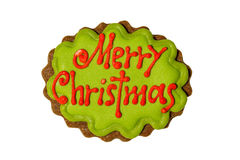 Feliz Natal nas cookies Imagens de Stock Royalty Free