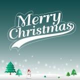 Feliz Natal no vetor do fundo da paisagem da neve Imagem de Stock Royalty Free