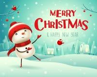 Feliz Natal! O boneco de neve alegre cumprimenta na paisagem do inverno da cena da neve do Natal ilustração stock
