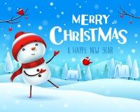 Feliz Natal! O boneco de neve alegre cumprimenta na paisagem do inverno da cena da neve do Natal ilustração do vetor
