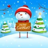 Feliz Natal! O boneco de neve alegre guarda a placa de madeira assina na paisagem do inverno da cena da neve do Natal ilustração stock