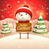 Feliz Natal! O boneco de neve alegre guarda a placa de madeira assina na paisagem do inverno da cena da neve do Natal ilustração royalty free