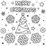 Feliz Natal Página da coloração Ilustração preto e branco do vetor ilustração stock