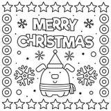 Feliz Natal Página da coloração Ilustração preto e branco do vetor ilustração do vetor