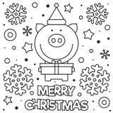 Feliz Natal Página da coloração Ilustração preto e branco do vetor ilustração royalty free
