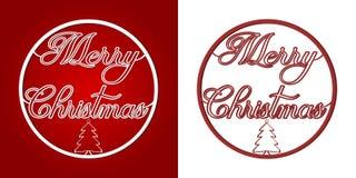 Feliz Natal - palavras e árvore em uma quinquilharia do Natal ilustração royalty free