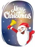 Feliz Natal Papai Noel soa o sino ilustração do vetor