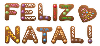 Feliz Natal Portuguese Christmas Gingerbread. FELIZ NATAL - Merry Christmas in french - written with gingerbread cake Stock Image