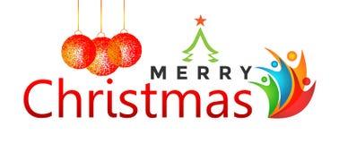 Feliz Natal que cumprimenta o projeto do texto com ícone dos povos no fundo branco ilustração stock