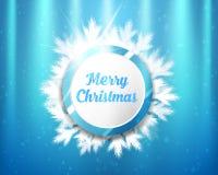 Feliz Natal que rotula com círculos e ramos de árvore azuis e brancos no fundo da iluminação Ilustração do vetor Imagens de Stock Royalty Free
