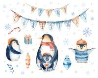 Feliz Natal que rotula com divertimento do watercolour Foto de Stock Royalty Free