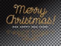 Feliz Natal que rotula a fonte do brilho do ouro Foto de Stock Royalty Free