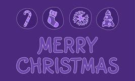 Feliz Natal que rotula na violeta ilustração royalty free
