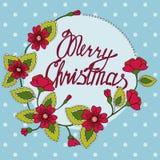 Feliz Natal que rotula no cartão floral ilustração do vetor