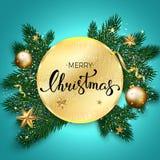 Feliz Natal que rotula no fundo azul, Natal b do vetor Fotos de Stock