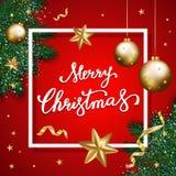 Feliz Natal que rotula no fundo vermelho, backgrou do Natal Fotos de Stock