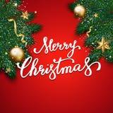 Feliz Natal que rotula no fundo vermelho, backgrou do Natal Foto de Stock