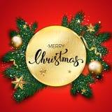 Feliz Natal que rotula no fundo vermelho, vagabundos do Natal do vetor Fotos de Stock Royalty Free