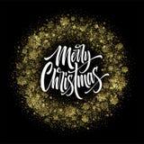 Feliz Natal que rotula no quadro do brilho ilustração stock