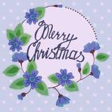 Feliz Natal que rotula no vintage floral do cartão ilustração do vetor