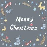 Feliz Natal que rotula o cartão Fotos de Stock