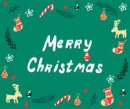 Feliz Natal que rotula o cartão Fotografia de Stock