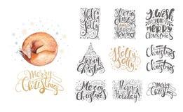 Feliz Natal que rotula sobre com flocos de neve e raposas Mão d ilustração stock