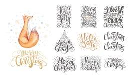 Feliz Natal que rotula sobre com flocos de neve e raposas Mão d ilustração do vetor