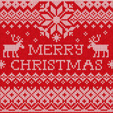 Feliz Natal: Sagacidade feita malha sem emenda do teste padrão do estilo escandinavo Fotografia de Stock
