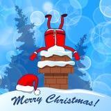 Feliz Natal! Santa Claus colou na chaminé em uma vitória azul da neve ilustração royalty free