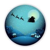 Feliz Natal, Santa Claus na arte do papel do céu e no estilo digital do ofício imagens de stock royalty free