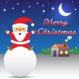 Feliz Natal - Santa Claus Sitting On Snow Ball Imagem de Stock Royalty Free