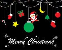 Feliz Natal - Santa Claus Swinging From Christmas Ball Imagens de Stock Royalty Free