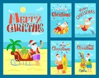 Feliz Natal Santa Claus, trenó completo dos frutos ilustração do vetor