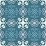 Feliz Natal Teste padrão sem emenda com flocos de neve em um fundo azul ilustração stock