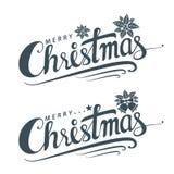 Feliz Natal texto, molde do cartão do projeto de rotulação Fotografia de Stock Royalty Free