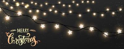 Feliz Natal tipográfico no fundo escuro com as festões brancas de incandescência das decorações do Xmas, luz, estrelas ilustração stock