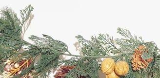 Feliz Natal verde Garland With Nature Ornaments Decoration foto de stock