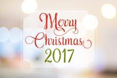 Feliz Natal 2017 vermelho e palavra verde do brilho no quadro branco a Fotos de Stock Royalty Free
