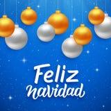 Feliz navidad晒干在西班牙语的问候 图库摄影