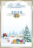 Feliz Navidad 2019 Árbol de navidad y muñecos de nieve con los regalos ilustración del vector