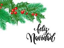 Feliz Navidad ισπανικό Χαρούμενα Χριστούγεννας κείμενο καλλιγραφίας διακοπών συρμένο χέρι για τη ευχετήρια κάρτα της διακόσμησης  Στοκ Φωτογραφία