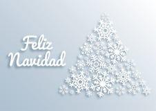 Feliz Navidad Κάρτα Χαρούμενα Χριστούγεννας ύφους εγγράφου με τους χαιρετισμούς στην ισπανική γλώσσα Χριστουγεννιάτικο δέντρο φια διανυσματική απεικόνιση