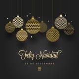 Feliz navidad - χαιρετισμοί Χριστουγέννων στα ισπανικά Διαμορφωμένα χρυσά μπιχλιμπίδια σε ένα μαύρο υπόβαθρο διανυσματική απεικόνιση