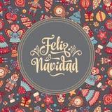 Feliz Navidad Карточка Xmas на испанском языке Стоковые Фото