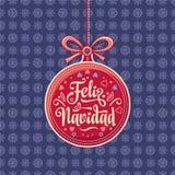 Feliz Navidad 贺卡在西班牙 Xmas欢乐背景 皇族释放例证