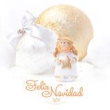 Feliz Navidad 圣诞节和新年背景2017年 金黄的天使 圣诞树玩具 免版税库存照片