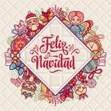 Feliz Navidad 在西班牙语的Xmas卡片 库存照片
