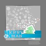 Feliz Navidad azul raya la tarjeta Imagen de archivo libre de regalías