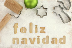 Feliz navidad baking. Preparation background Royalty Free Stock Photo
